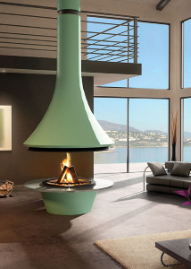 central color fireplace glass base top